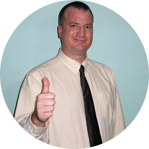 Scott Chaplin, owner of Results Website Design Company, giving a 'thumbs up!'
