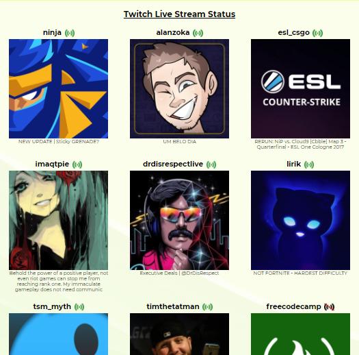 Twitch Live Stream Status