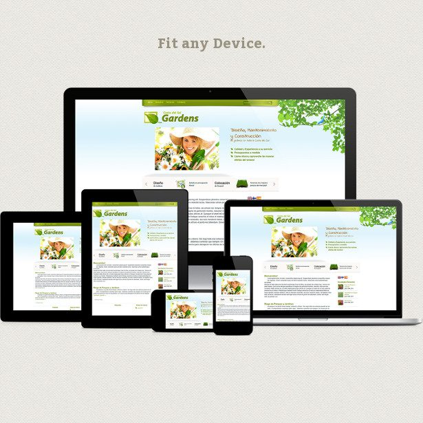 Responsive website displayed across devices (phone, tablet, and laptop) with text 'Fit any device.'